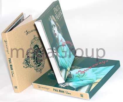 Slipcase tube full color on linen wrapped cd book