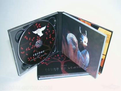CD Book Clear tray left perfect bound booklet right side